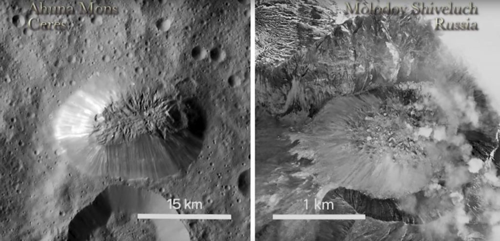 The Ahuna Mons dome compared to a dome in Russia. The similarity in appearance is striking though the difference in size is large. Credit: NASA