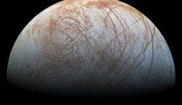 Europa as imaged by the Galileo spacecraft. Europa is a prime target in the search for life because of its sub-surface ocean. Image: NASA/JPL-Caltech/SETI Institute