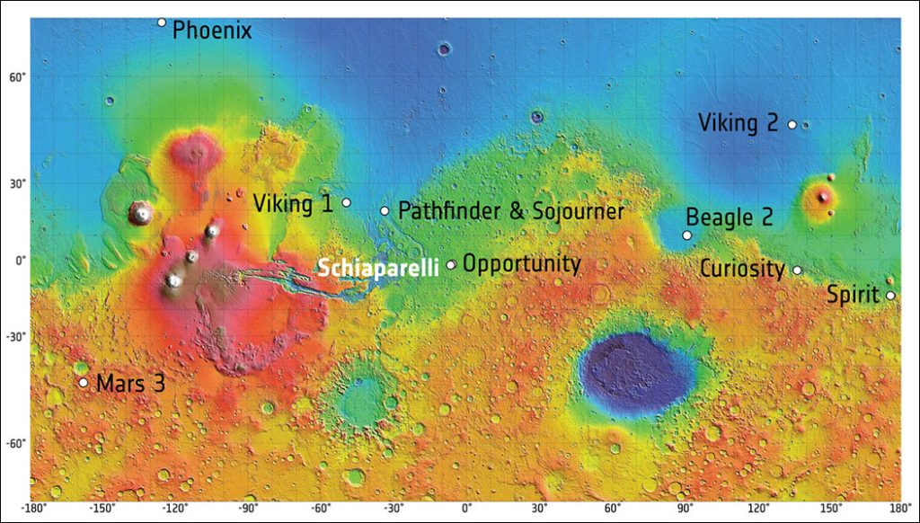 On 19 October 2016, the ExoMars 2016 entry, descent, and landing demonstrator module, known as Schiaparelli, will land on Mars in a region known as Meridiani Planum. The landing sites of the seven rovers and landers that have reached the surface of Mars and successfully operated there are indicated on this map. The background image is a shaded relief map of Mars, based on data from the Mars Orbiter Laser Altimeter (MOLA) instrument, on NASA's Mars Global Surveyor spacecraft.