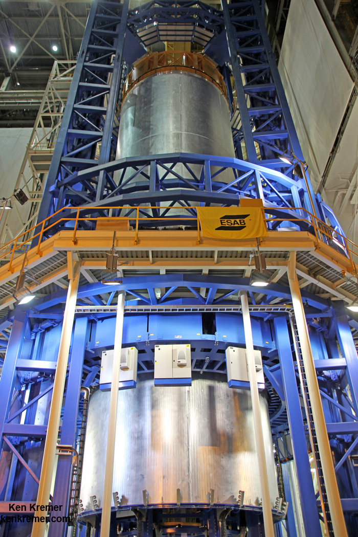 Welding is nearly complete on the liquid hydrogen tank will provide the fuel for the first flight of NASA's new rocket, the Space Launch System, with the Orion spacecraft in 2018.  The tank has now has now  completed welding on the Vertical Assembly Center at NASA's Michoud Assembly Facility in New Orleans.  Credit: Ken Kremer/kenkremer.com