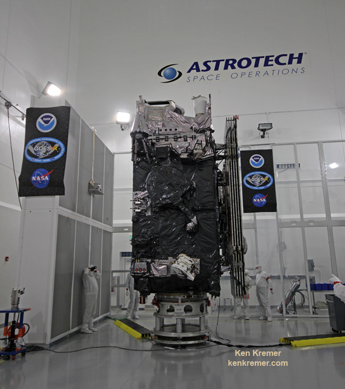 The NASA/NOAA GOES-R (Geostationary Operational Environmental Satellite - R Series) being processed at Astrotech Space Operations, in Titusville, FL, in advance of planned launch on a ULA Atlas V slated for Nov. 19, 2016. GOES-R will be America's most advanced weather satellite. Credit: Ken Kremer/kenkremer.com