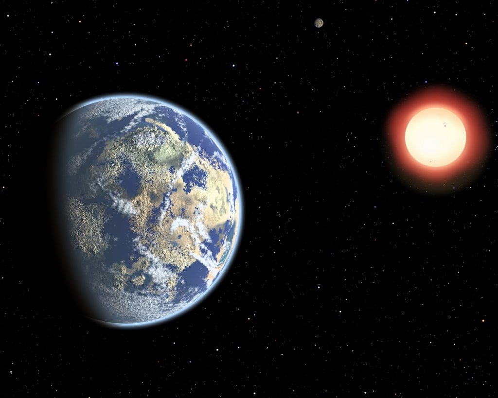 Artist's depiction of a watery exoplanet orbiting a distant red dwarf star. New research indicates that Proxima b could be especially watery. Credit: CfA