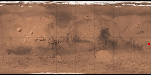 The Gusev Crater geo-located on a map of Mars. Image: Wikimedia Labs