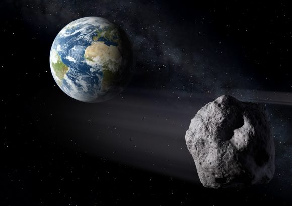 An artist's conception of an asteroid passing near the Earth. NASA is getting better at spotting them and giving us advance warning of their approach. Image credit: ESA.