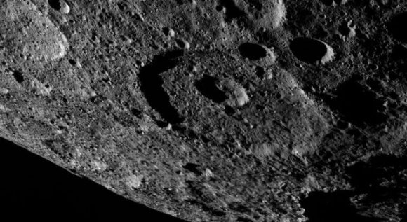 This image of the limb of dwarf planet Ceres shows a section of the northern hemisphere. A shadowy portion of Occator Crater can be seen at the lower right -- its bright