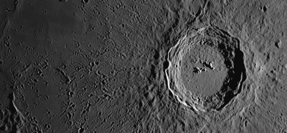 An incredibly sharp image of Copernicus Crater on the Moon, as seen from the Alps. Credit and copyright: Thierry Legault. Used by permission.