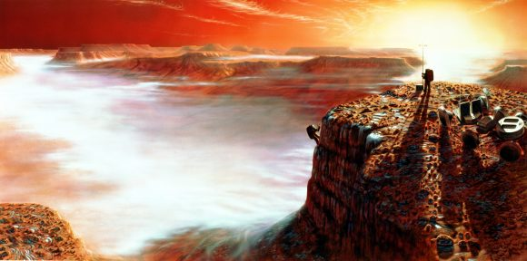 The area depicted is Noctis Labyrinthus in the Valles Marineris system of enormous canyons. The scene is just after sunrise, and on the canyon floor four miles below, early morning clouds can be seen. The frost on the surface will melt very quickly as the Sun climbs higher in the Martian sky. Credit: NASA