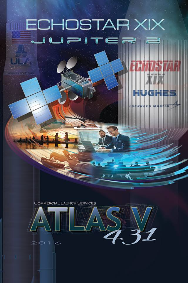 Artwork for ULA Atlas V launch of EchoStar 19 high speed Internet satellite on Dec. 18, 2016 from  Canaveral Air Force Station, Florida.  Credit: ULA