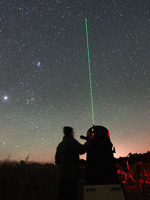 Not only are lasers helpful when pointing out stars, many amateurs use them to point to and find deep sky objects with their telescopes. Credit: Bob King