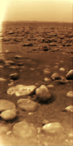 The first-ever images of the surface of a new moon or planet are always exciting. This image was taken by the Huygens probe at its landing site on Titan. Image Credit: ESA/NASA/JPL/University of Arizona