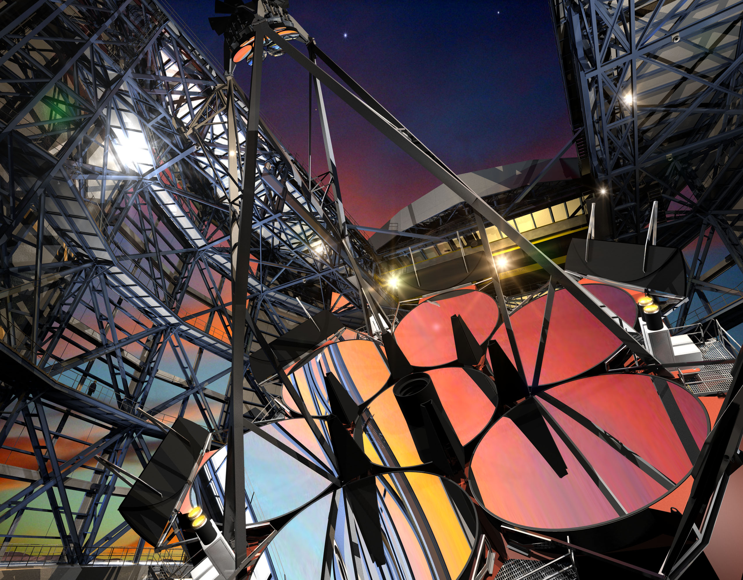 This illustration shows what the Giant Magellan Telescope will look like when it comes online. The fifth of its seven mirror segments is being cast now. Each of the segments is a 20 ton piece of glass. Image: Giant Magellan