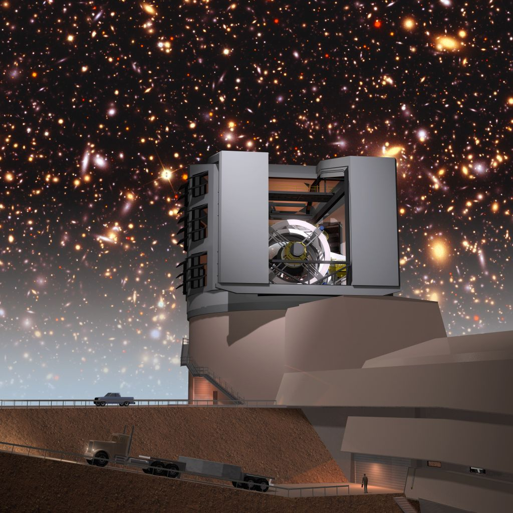 An artist's illustration of the Large Synoptic Survey Telescope with a simulated night sky. The team hopes to use the LSST to further refine their search for hard-surface supermassive objects. Image: Todd Mason, Mason Productions Inc. / LSST Corporation