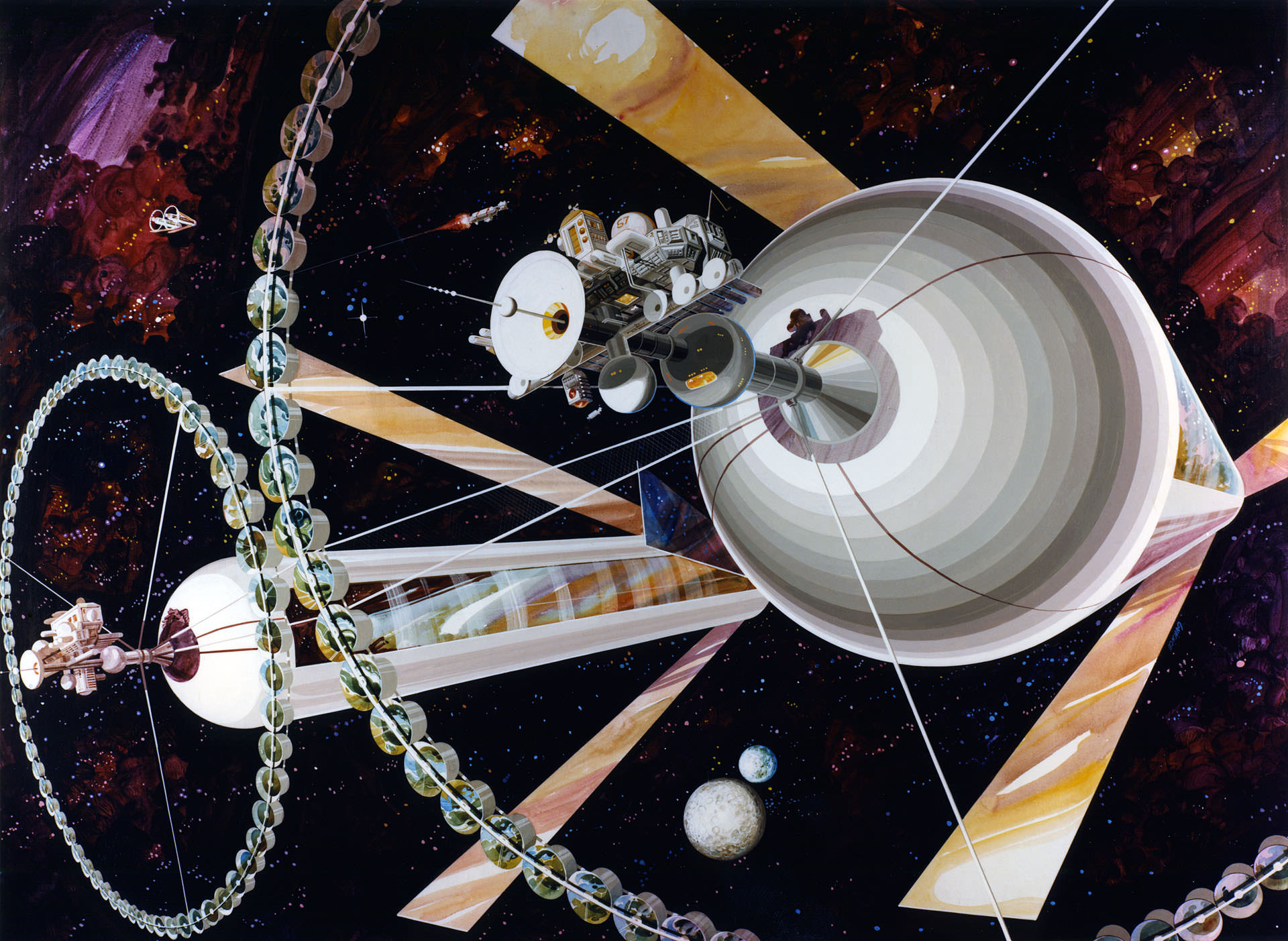 This illustration of a double-cylinder space colony is from the 1970's, by artist Rick Guidice. Image: NASA Ames Research Center