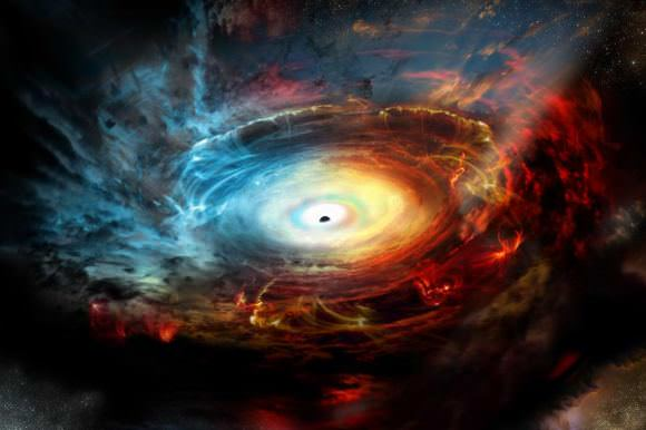 Illustration of the supermassive black hole at the center of the Milky Way. Credit: NRAO/AUI/NSF