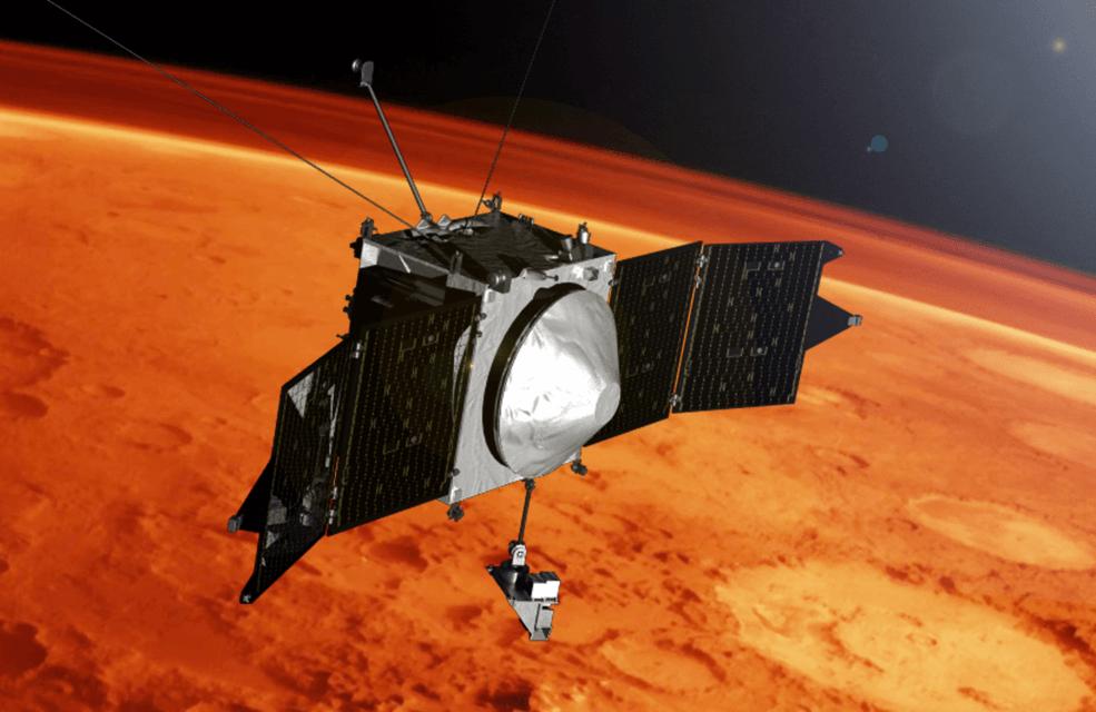 An artist's illustration of NASA's MAVEN spacecraft orbiting Mars. Image: NASA's Goddard Space Flight Center