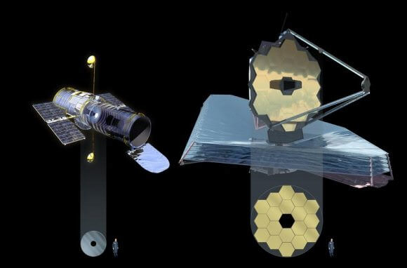 The Hubble Space Telescope on the left has a 2.4 meter mirror and the James Webb Space Telescope has a 6.5 meter mirror. LUVOIR, not shown, will dwarf them both with a massive 15 meter mirror. Image: NASA