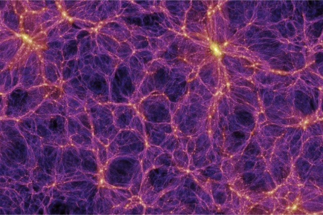 The Millenium Simulation created this image of the large-scale structure of the Universe, showing filaments and voids within the cosmic structure. According to a new study from the University of Wisconsin, our Milky Way is situated in a huge void in the cosmic structure. The Millennium Simulation is a project of the Max Planck Supercomputing Center in Germany. Image: Millennium Simulation Project