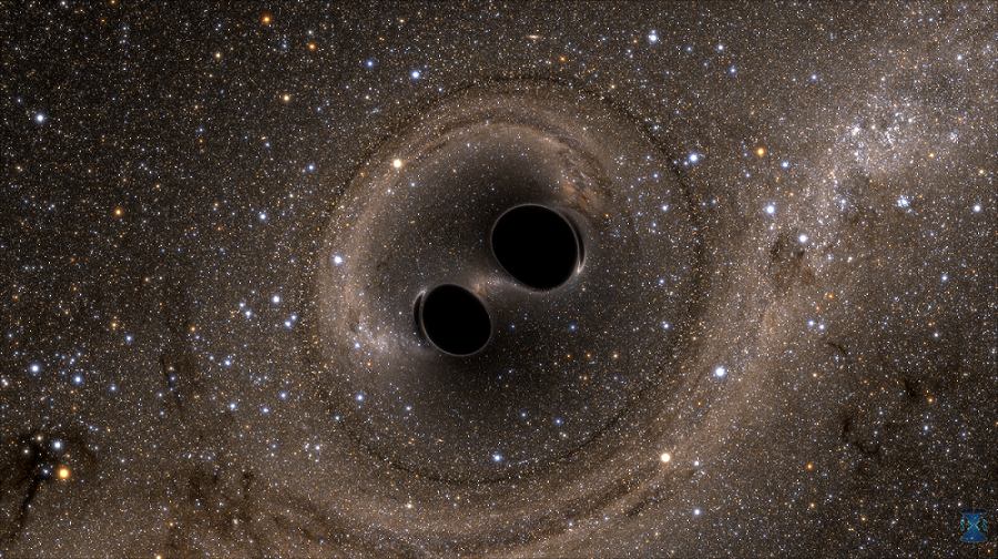 Artist's impression of two merging black holes, which has been theorized to become a source of gravitational waves. The SMBH in Holm 15A is most likely the result of a merger of two black holes. Credit: Bohn, Throwe, Hébert, Henriksson, Bunandar, Taylor, Scheel / SXS