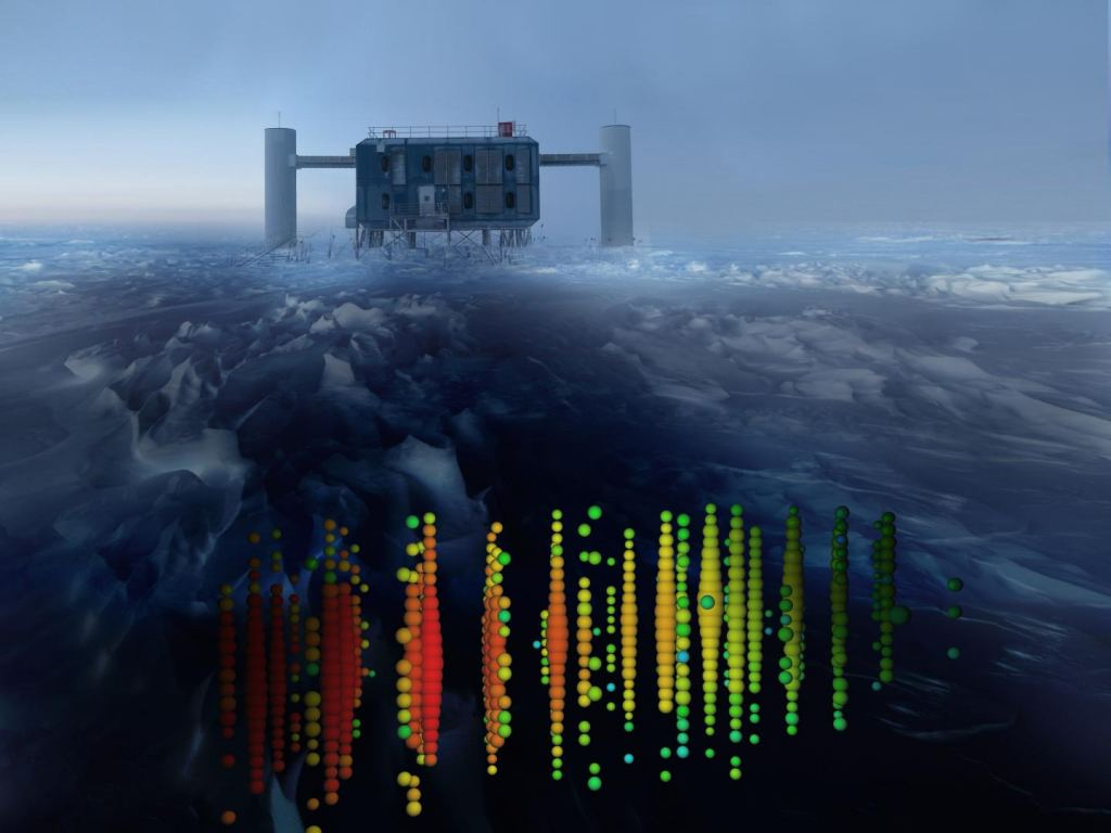 Neutrinos are nearly impossible to detect. One neutrino observatory, called the IceCube Neutrino Laboratory, tries to detect them by sinking detectors deep into the cold, antarctic ice, where it tries to catch the rare times when neutrinos interact with other matter. This image shows a visual representation of one of the highest-energy neutrino detections superimposed on a view of the IceCube Lab at the South Pole. Credit: IceCube Collaboration.