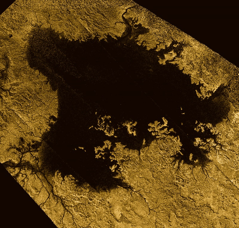 Ligeia Mare, shown in here in data obtained by NASA's Cassini spacecraft, is the second largest known body of liquid on Saturn's moon Titan. It is filled with liquid hydrocarbons, such as ethane and methane, and is one of the many seas and lakes that bejewel Titan's north polar region. Credit: NASA/JPL-Caltech/ASI/Cornell