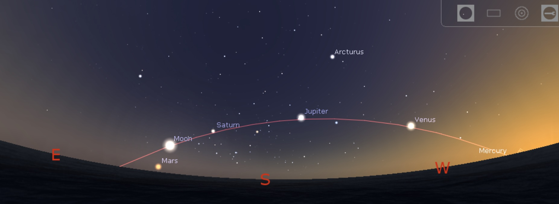 Planetpalooza: All Bright Planets Visible in the July Dusk