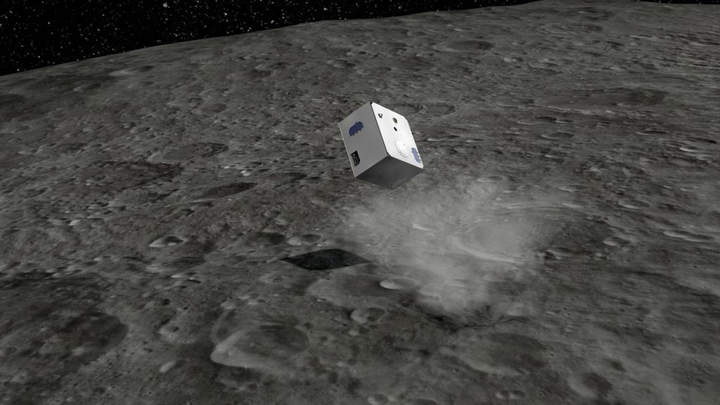 An artist's illustration of MASCOT, the French-German hopping robot, on the surface of asteroid Ryugu. Image: Credit: DLR (CC-BY 3.0)