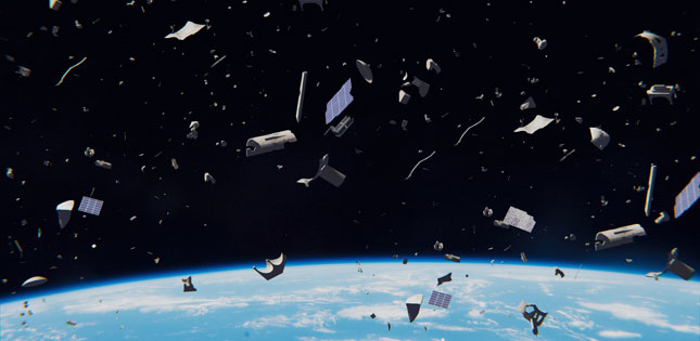 An artist's illustration of space junk. The problem isn't this bad yet, but it's getting worse year by year. Image: Tohoku University
