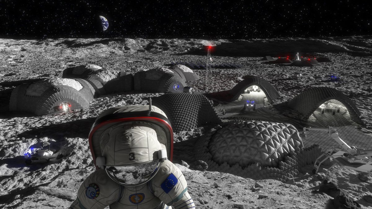 An illustration of a Moon base that could be built using 3D printing and ISRU, In-Situ Resource Utilization. Credit: RegoLight, visualisation: Liquifer Systems Group, 2018