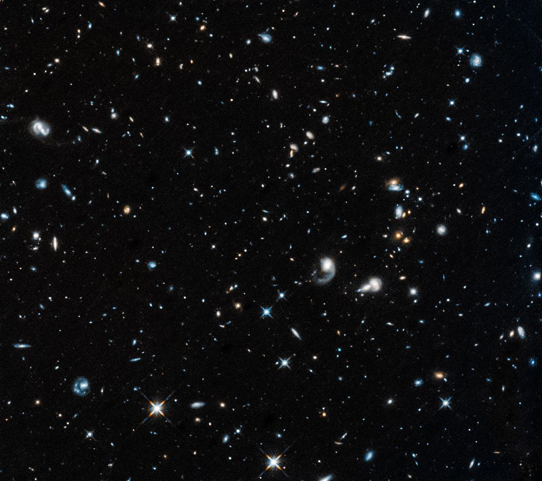 Hubble's first image after returning to service is of a field of galaxies in the constellation Pegasus. Image Credit: NASA, ESA, and A. Shapley (UCLA)