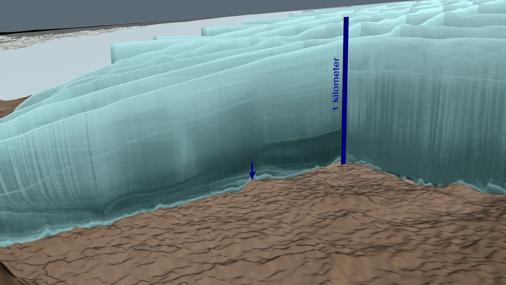 This is an image of the data gathered during the follow-up study to confirm the existence of the impact crater. The ice covering the crater is a half mile deep. Image Credit: NASA/Cindy Starr.