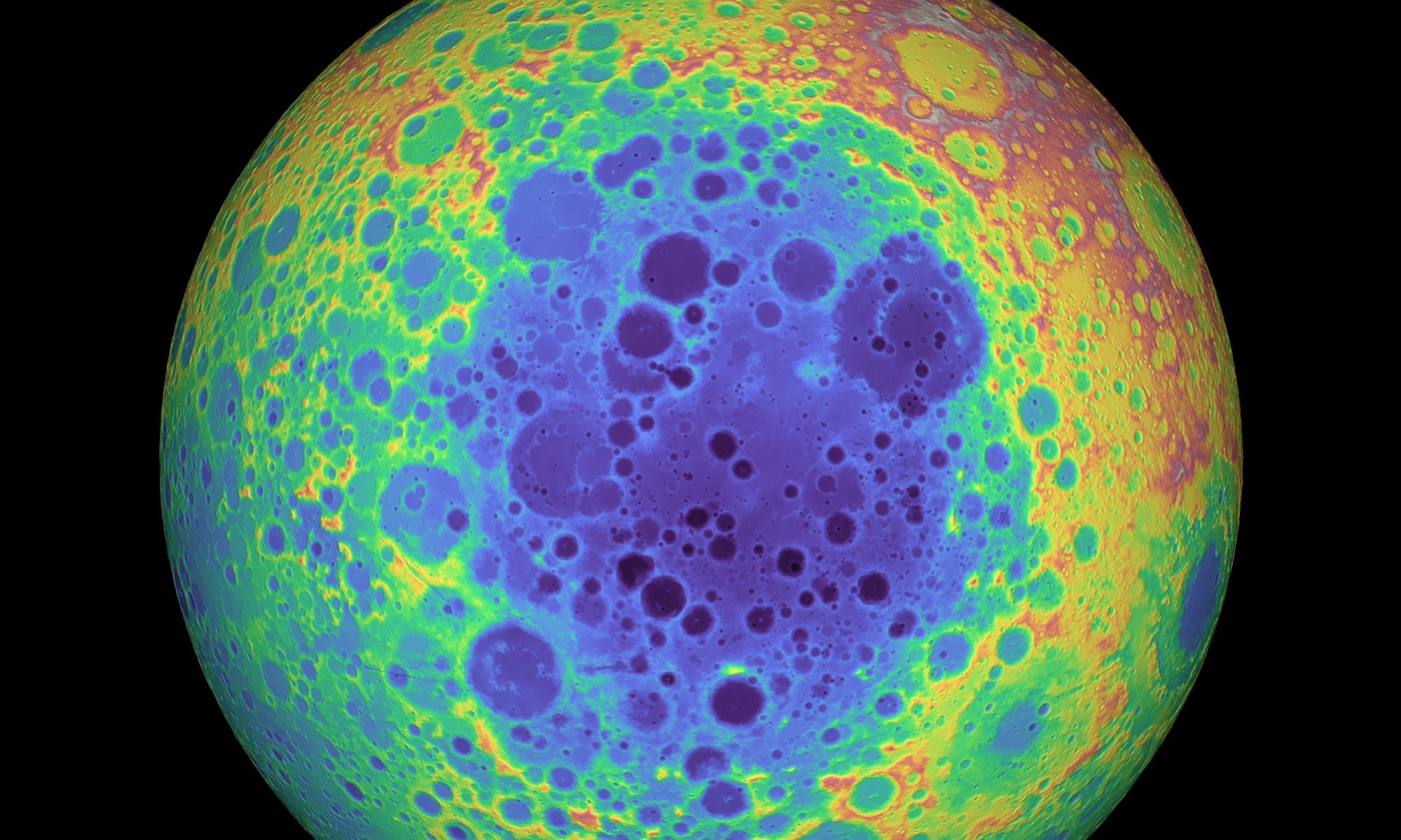 Elevation data of the Moon showing the South Pole-Aitken Basin. Credit: NASA/GSFC/University of Arizona