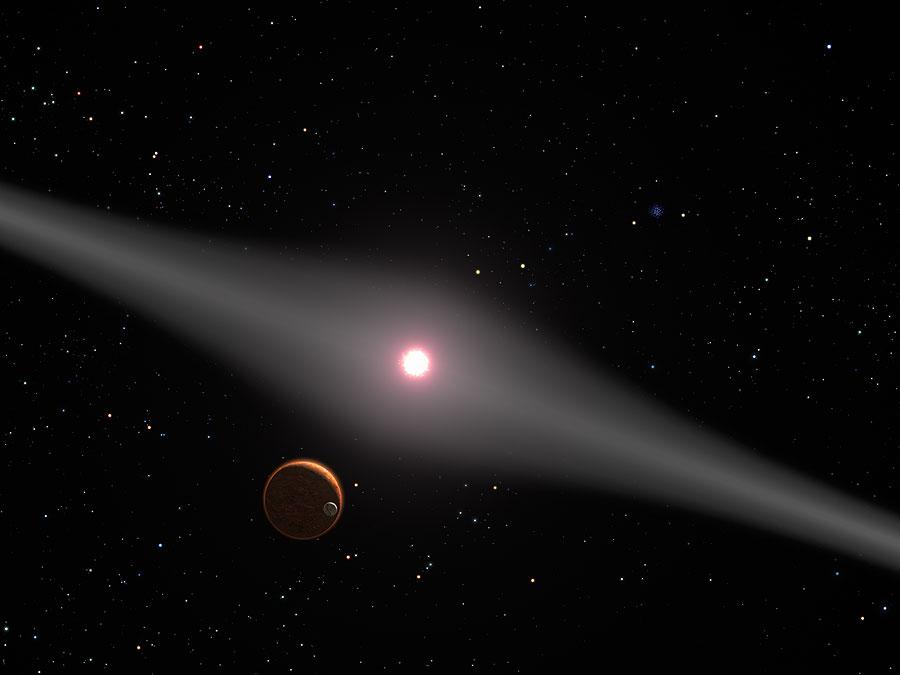 An artist's impression of the red dwarf star AU Microscopii (AU Mic.) Image Credit:  By NASA/ESA/G. Bacon (STScI)