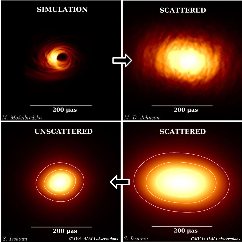 Top left: simulation of Sgr A* at 86 GHz without interstellar scattering. Top right: simulation with interstellar scattering. Bottom right: observed image of Sgr A*. Bottom left: observed image of Sgr A* after removing the effects of interstellar scattering. Credit: S. Issaoun, M. Mo?cibrodzka, Radboud University/ M. D. Johnson, CfA