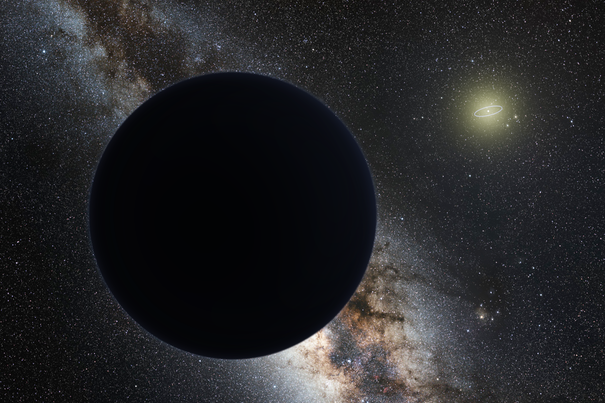 Artist's impression of Planet Nine as an ice giant eclipsing the central Milky Way, with a star-like Sun in the distance. Neptune's orbit is shown as a small ellipse around the Sun. The sky view and appearance are based on the conjectures of its co-proposer, Mike Brown. Image Credit: By nagualdesign; Tom Ruen, background taken from File:ESO - Milky Way.jpg - Own work, CC BY-SA 4.0, https://commons.wikimedia.org/w/index.php?curid=47069857