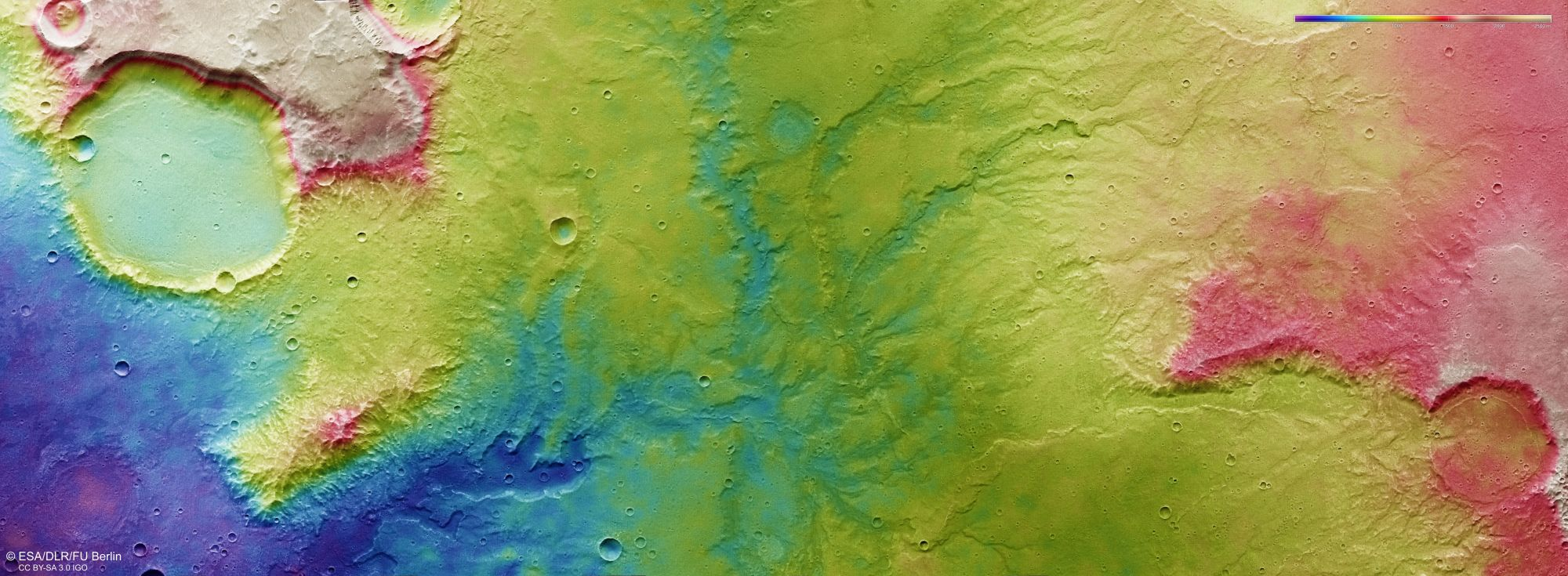 A topographic image of an area of anceint riverbeds on Mars. Created with data from the High-Resolution Stereo Camera on the Mars Express Orbiter. Image Credit: ESA/DLR/FU Berlin http://www.esa.int/spaceinimages/ESA_Multimedia/Copyright_Notice_Images