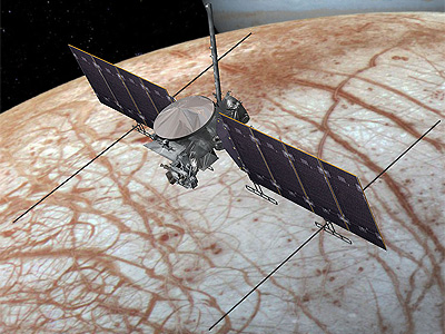 Artists rendering of Europa clipper flying by Europa