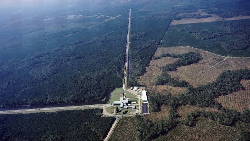 "The Laser Interferometer Gravitational-Wave Observatory is made up of two detectors, this one in Livingston, La., and one near Hanford, Wash. The detectors use giant arms in the shape of an ""L"" to measure tiny ripples in the fabric of the universe. Credit: Caltech/MIT/LIGO Lab"