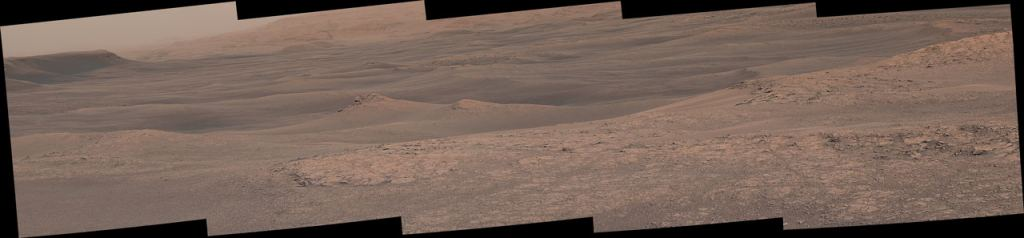 This panorama image shows some of the variety in the Mt. Sharp area. At center left is Knockfarill Hill. (Click to enlarge.) Image Credit: NASA/JPL-Caltech/MSSS