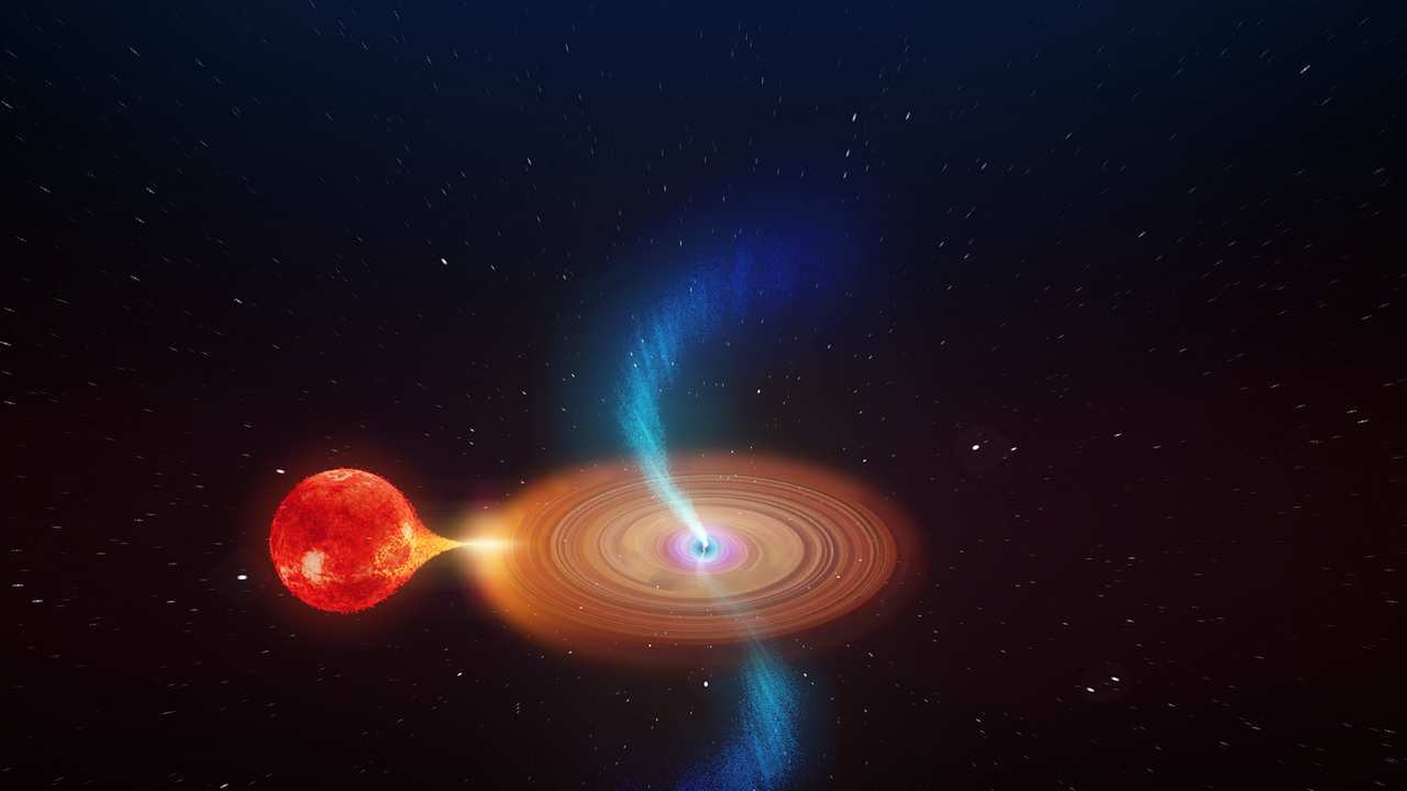An artist's illustration of the black hole V404 Cygni. Image Credit: ICRAR.