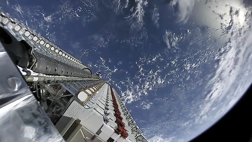 Starlink satellites prepare for deployment.