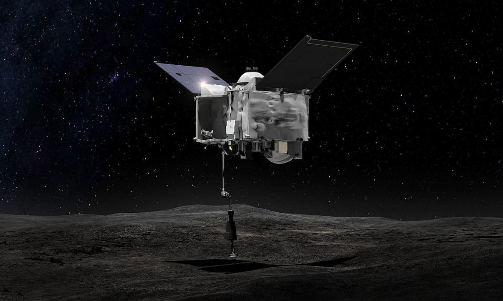 An artist's illustration of OSIRIS-REx's TAGSAM collecting a sample from Bennu's surface. Image Credit: By NASA/Goddard Space Flight Center - http://www.nasa.gov/image-feature/osiris-rex-grabs-a-sample (image link), Public Domain, https://commons.wikimedia.org/w/index.php?curid=52203236