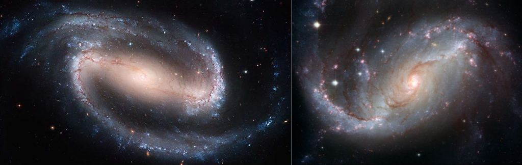 Left: NGC 1300 by HST/NASA/ESA. Right: NGC 1672 by NASA, ESA, and The Hubble Heritage Team (STScI/AURA)-ESA/Hubble Collaboration