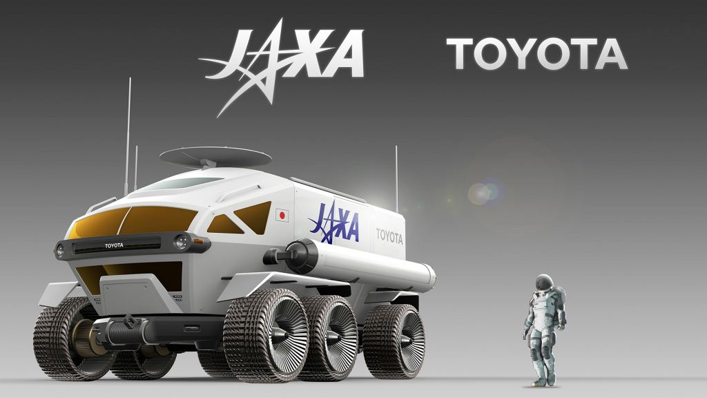 n artist's illustration of the proposed rover, with an astronaut for scale. Image Credit: JAXA/Toyota