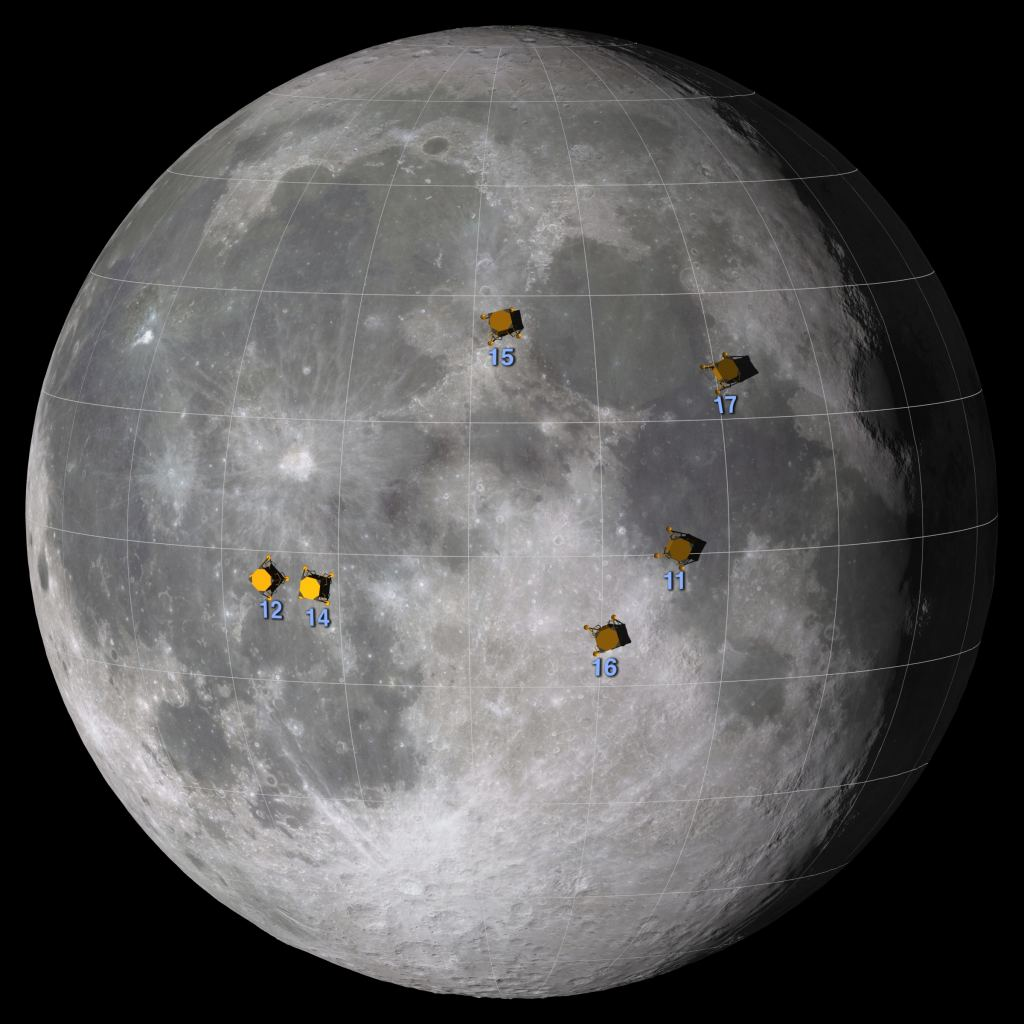 Apollo landing sites. Credit: NASA/Goddard Space Flight Center Scientific Visualization Studio