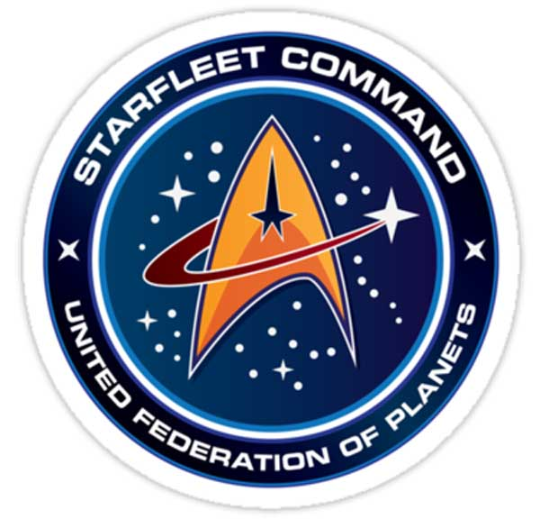 The Starfleet Command logo from Star Trek. The Delta shape, the starry background, the swoosh: it's all there. Image Credit: Star Trek?