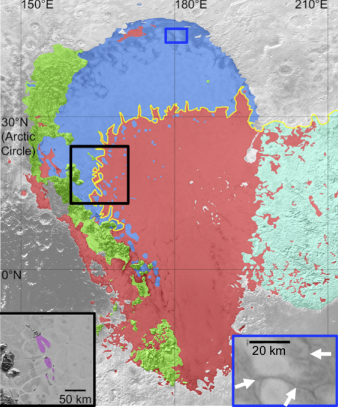 A simple geological map showing bright N2 ice plains (red), dark N2 ice plains (blue), mountains and hills lining the western rim of Sputnik Planitia (green), and bright pitted uplands of east Tombaugh Regio (cyan). Yellow line maps the continuous boundary between the bright and dark plains, as well as the northern boundary of the bright pitted uplands. Black box indicates the location of features in Sputnik Planitia interpreted as wind streaks, as mapped in purple in the inset. Blue box and white arrows indicates the location of dark troughs, possibly filled with dark materials. Image Credit: Bertrand et al 2020