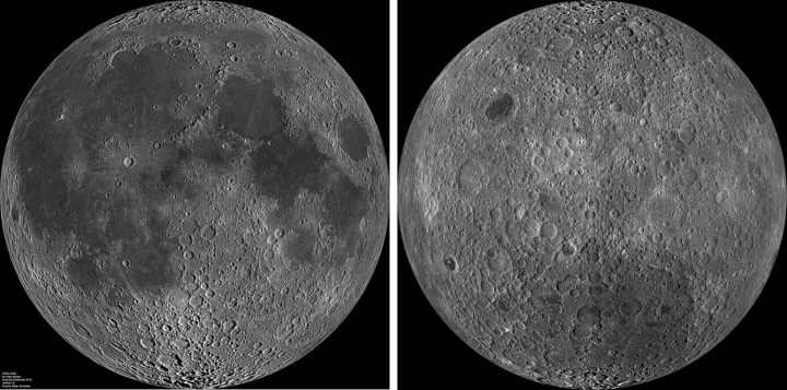 The near side of the Moon (left) and the far side of the Moon (right.) Image Credit: NASA
