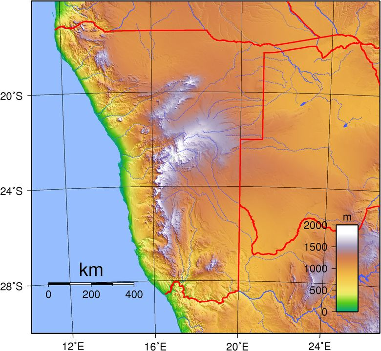 A topographic map of Namibia. Image Credit: By Sadalmelik - Own work, Public Domain, https://commons.wikimedia.org/w/index.php?curid=2276324