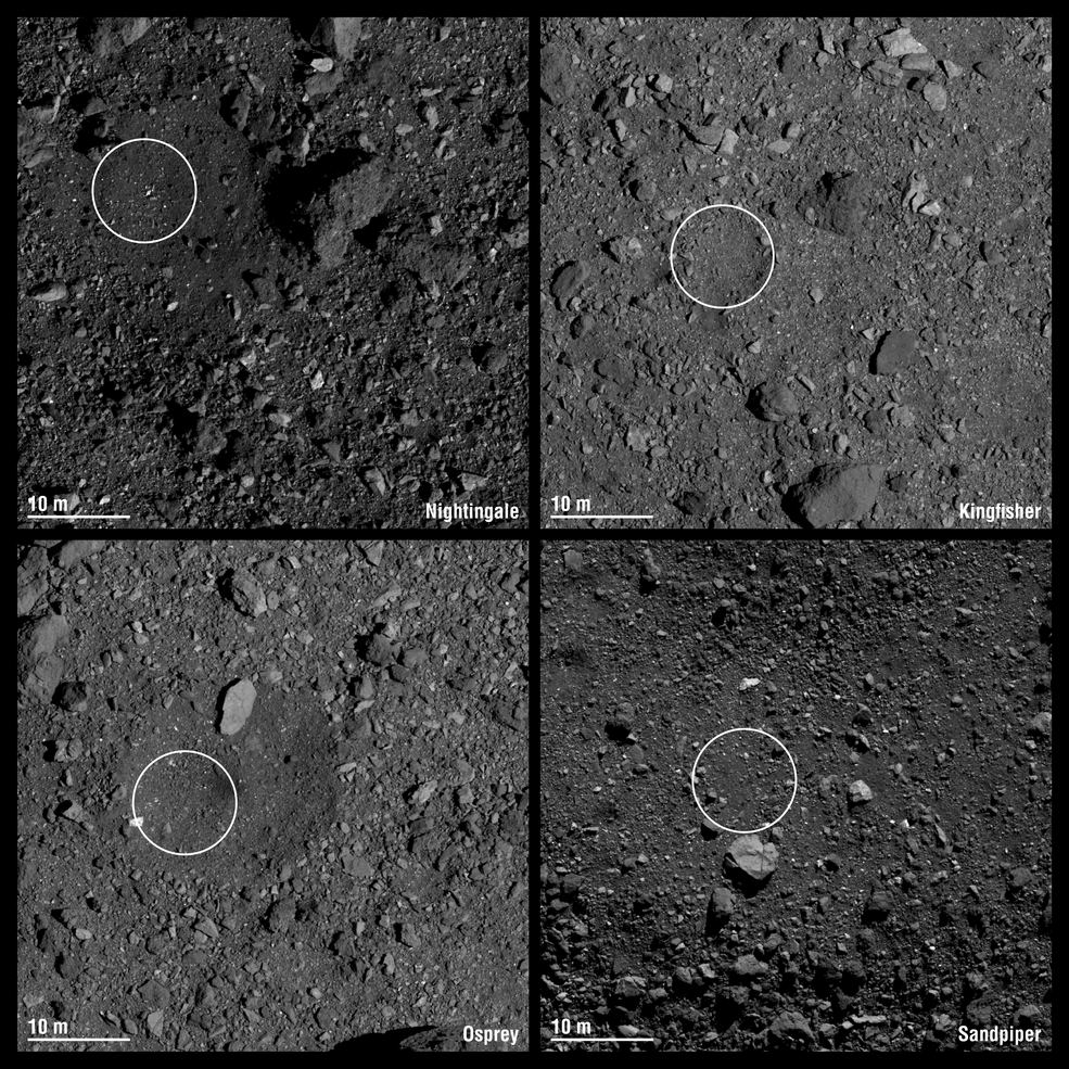 Four different sample sites that show the diversity and roughness of Bennu's surface in some detail.