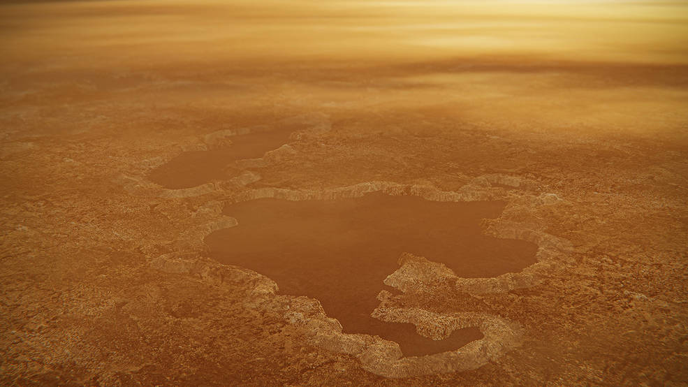 Artist conception of a lake on Titan.